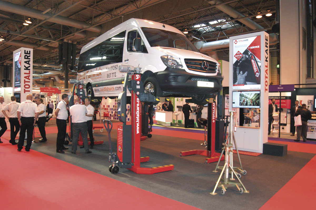TotalKare displayed its S6cf cable-free mobile column lifts.
