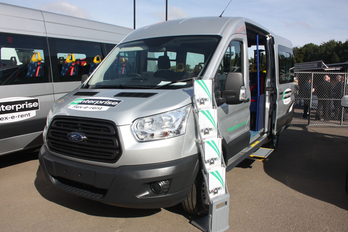 Ford Transit conversion for Enterprise Flexerent with seating for eight was fitted with a PLS in-board tail lift.