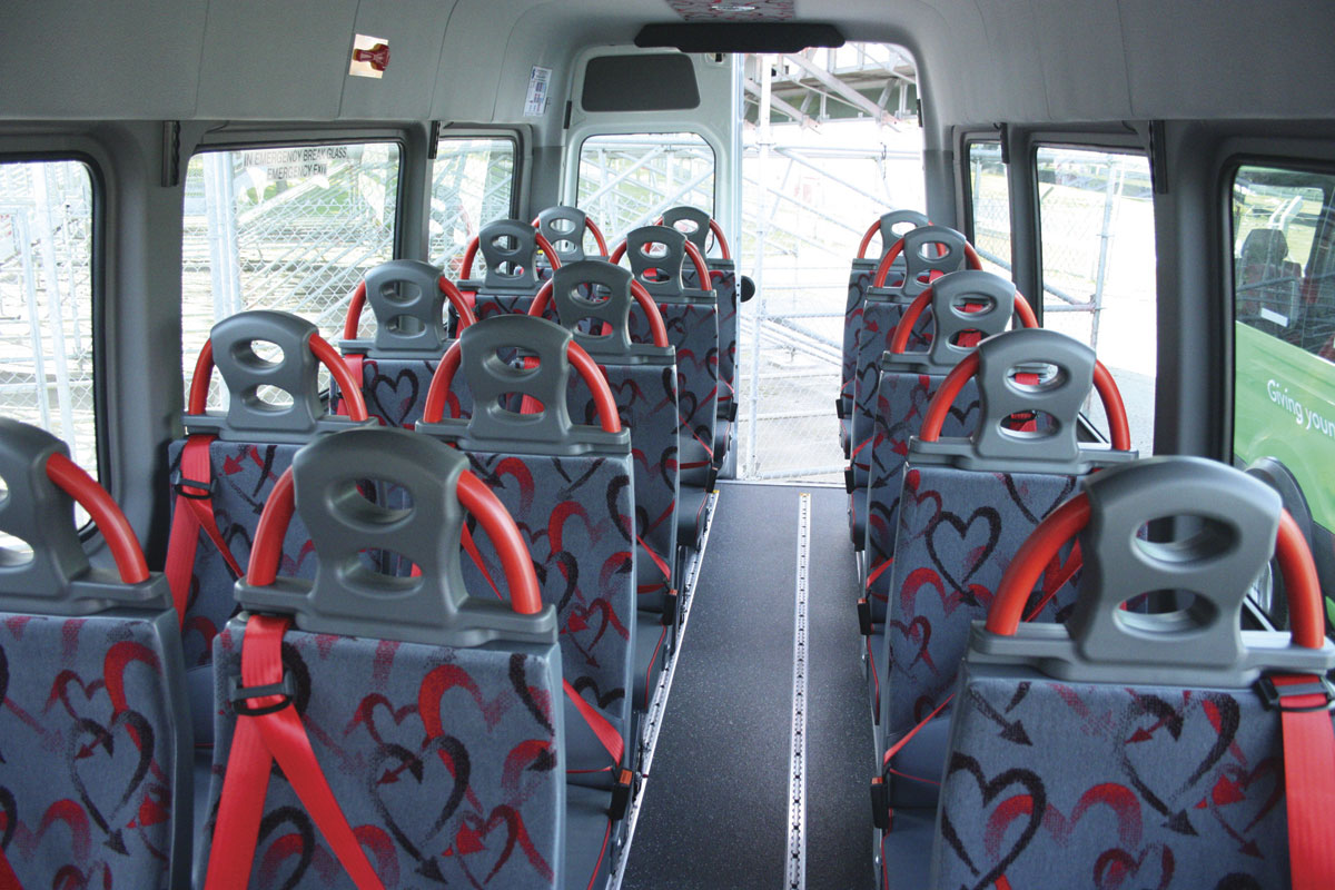 The interior of the 16-seat wheelchair accessible London Hire Sprinter.