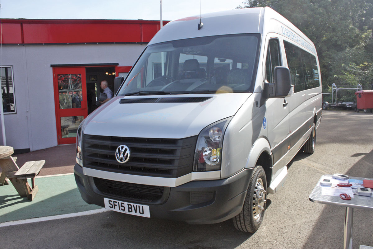 The new 5.3 tonnes GVW 22-seat wheelchair accessible conversion of the VW Crafter CR50.