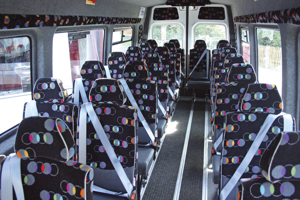 The interior of the GVW 22-seat wheelchair accessible conversion of the VW Crafter CR50.