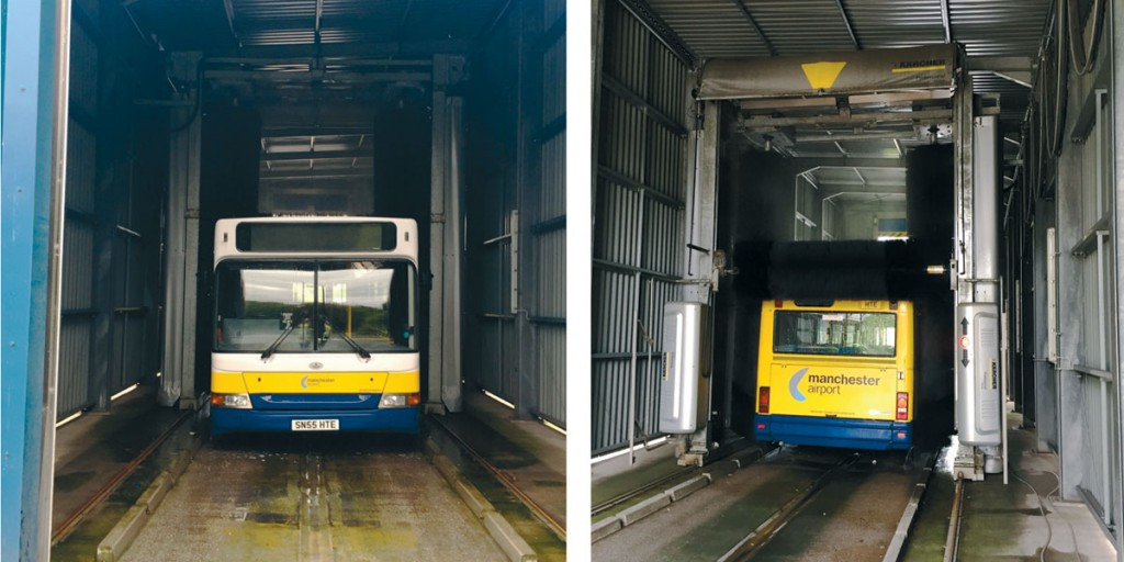 A Manchester Airport ADL Enviro200 emerges from the Kärcher TB line gantry wash. The TB line gantry wash takes six minutes to clean a 12m vehicle.