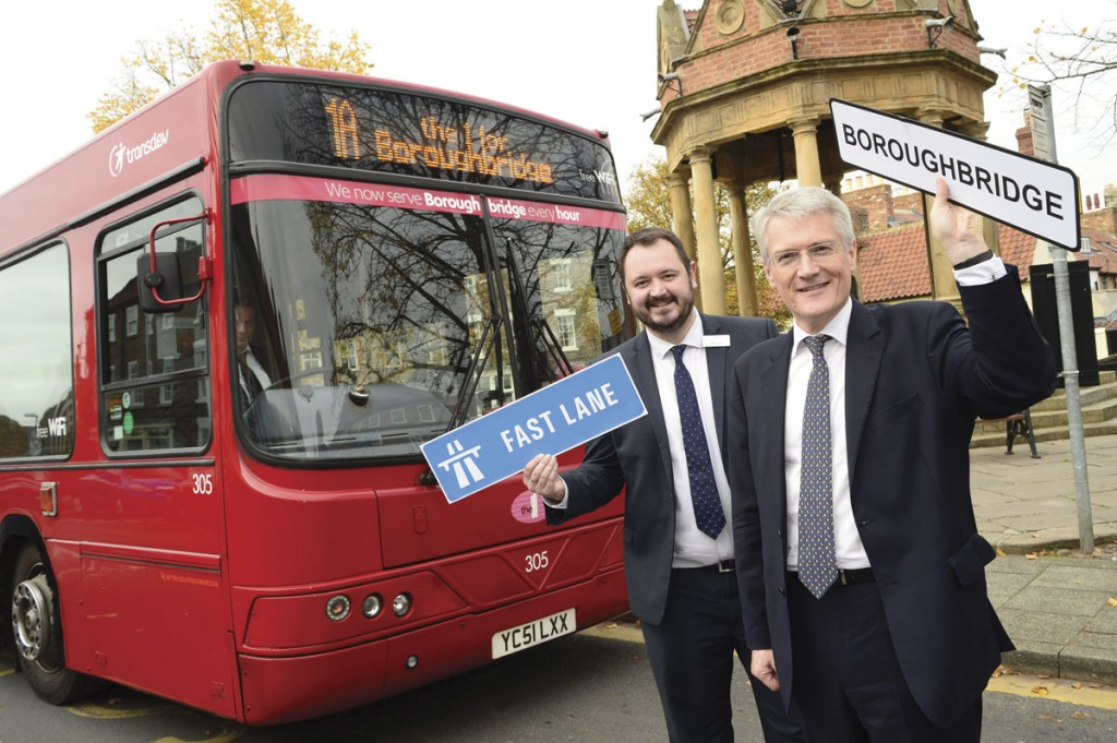 (LtoR) Transdev Blazefield Chief Executive, Alex Hornby and Andrew Jones MP promoting the new Boroughbridge service launch.
