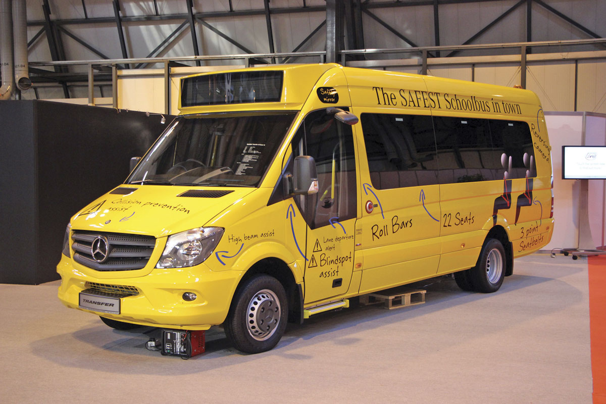 Mercedes-Benz is offering a 22-seat school bus version of the Sprinter Transfer that offers every safety feature they could think of.