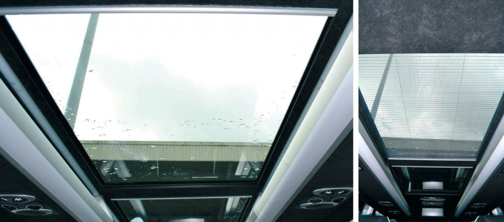 Left: The Panoramic roof allows natural light to flood the saloon area whilst the sliding sunscreen (right) offers protection from direct sunlight.