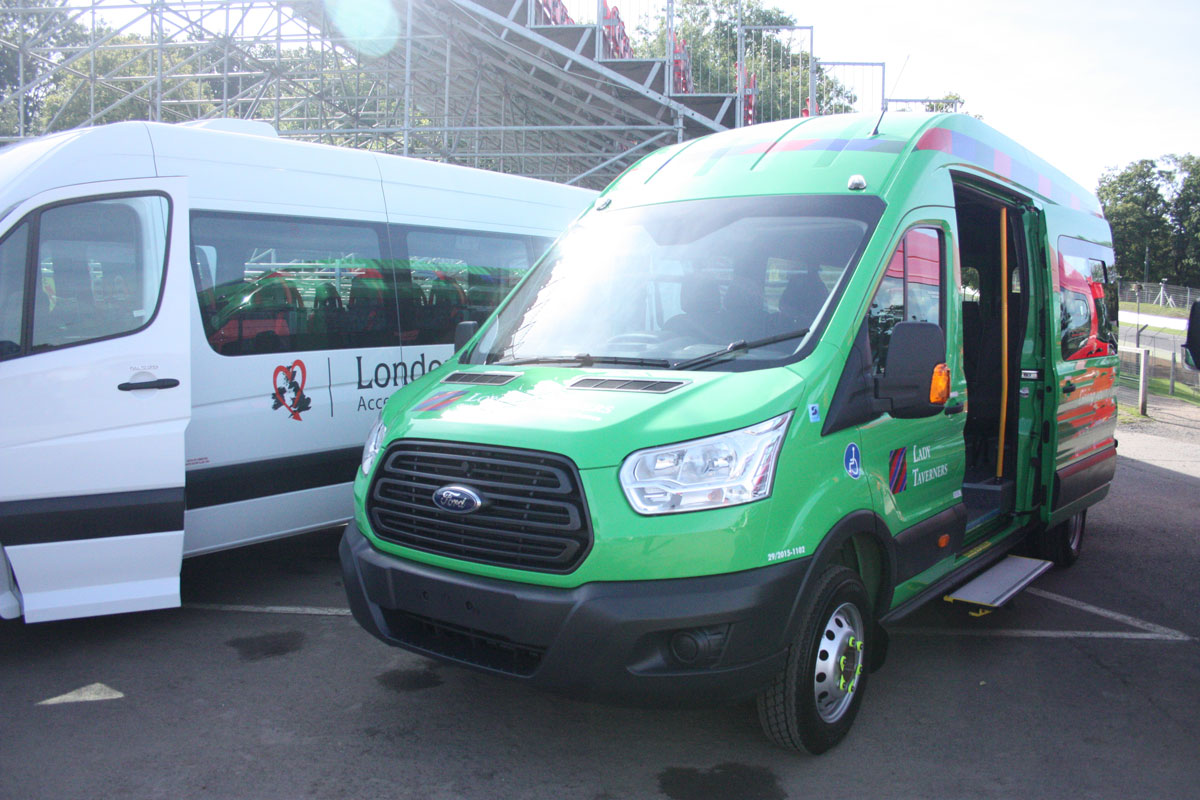 Regular Stanford customers, the Lords Taverners, generally specify the Ford Transit. This unit can carry 15 passengers or up to three wheelchairs.