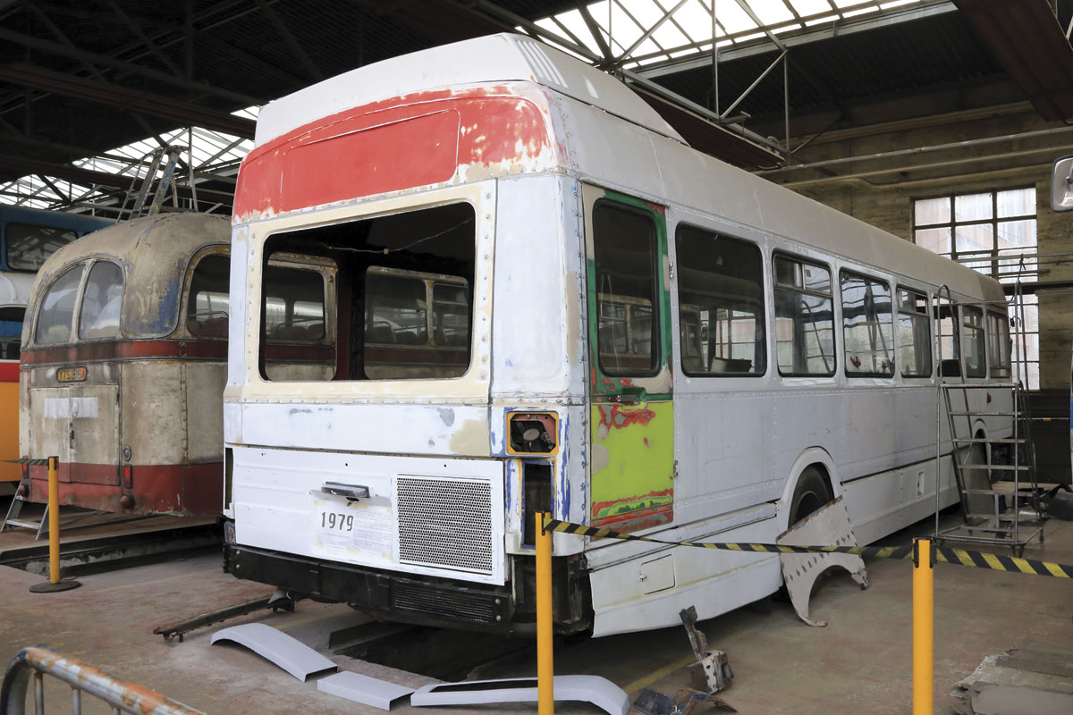 Restoration in progress on GVVT's Leyland National.