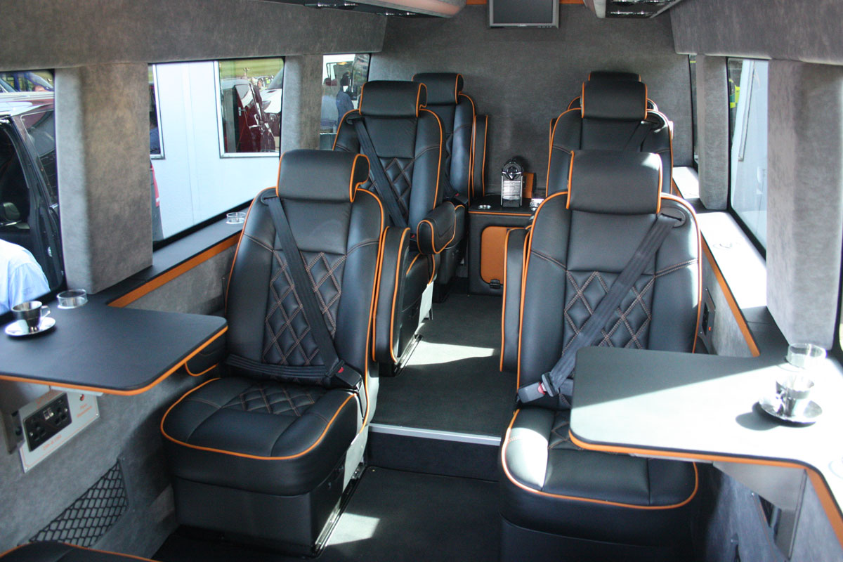 Sumptuous luxury in a Mercedes-Benz Sprinter 516 Monaco minicoach. It seats just eight!