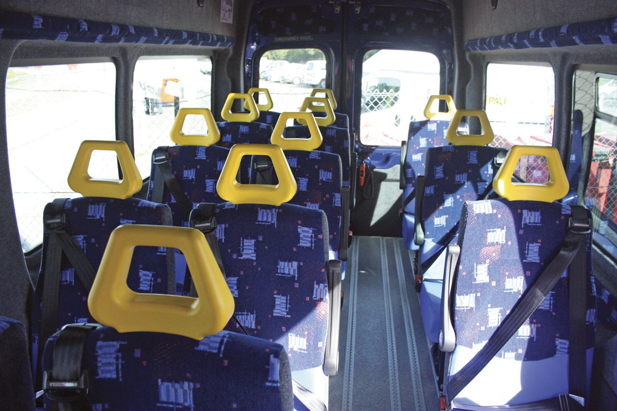 The interior of the Hampshire County Council Ford Transit.