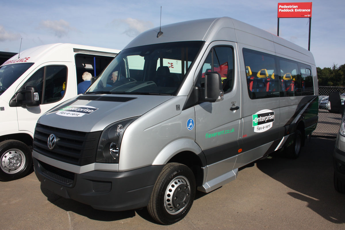 This VW Crafter CR50 for Enterprise Flexerent fitted with 16 Phoenix Blenheim seats can alternatively carry three wheelchairs with six seated passengers.