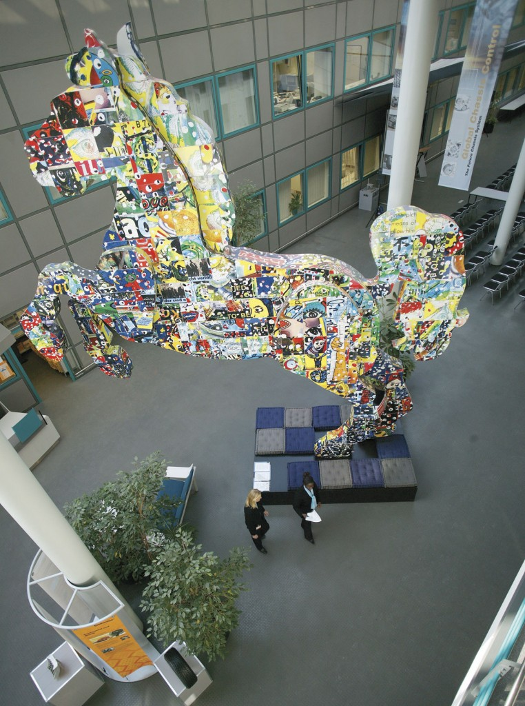 This massive and rather colourful take on the Continental horse symbol dominates the atrium at the Technology Centre.