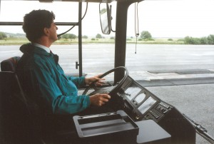 Adrian at the wheel of a left hand drive B10L at the launch of the model in Gothenburg.
