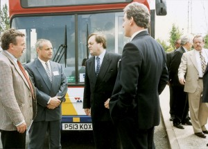 Adrian has met many politicians over the years. Here he is at the launch of the Travel West Midlands CNG powered B10Ls with, LtoR: Trevor Longcroft and Mike Ball of Volvo, John (now Lord) Prescott and (far right) Peter (now Lord) Snape.