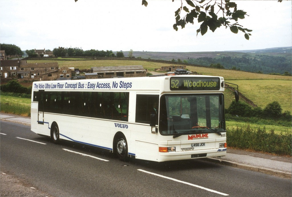 The Volvo B10L was Volvo's first low floor design. This was the first in the UK and carried Alexander Ultra coachwork with aluminium plank side panelling. This bus later worked for Lincs Roadcar and EnsignBus.
