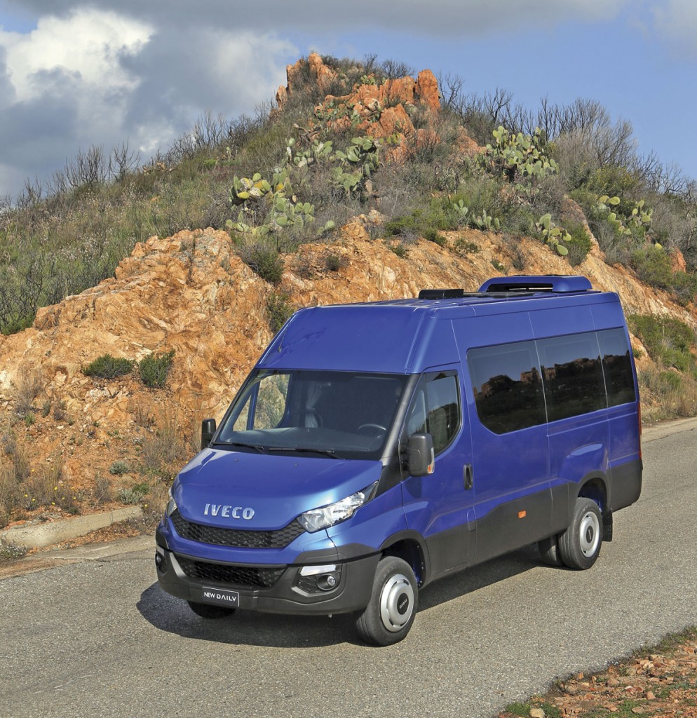 A factory built minibus version of the Iveco New Daily. This is a left hand drive example