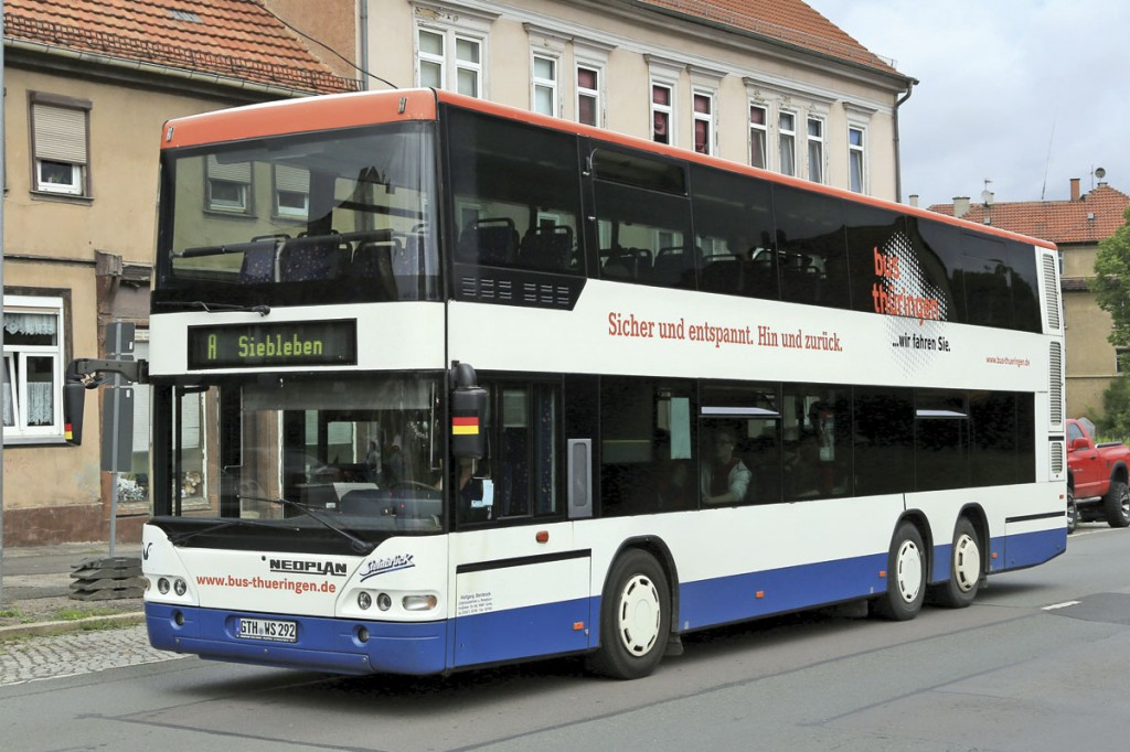 A small number of gas powered Neoplan double-deckers have been operating successfully in the German city of Gotha. Note the ventilation louvres for the gas storage at the rear of the upper deck.