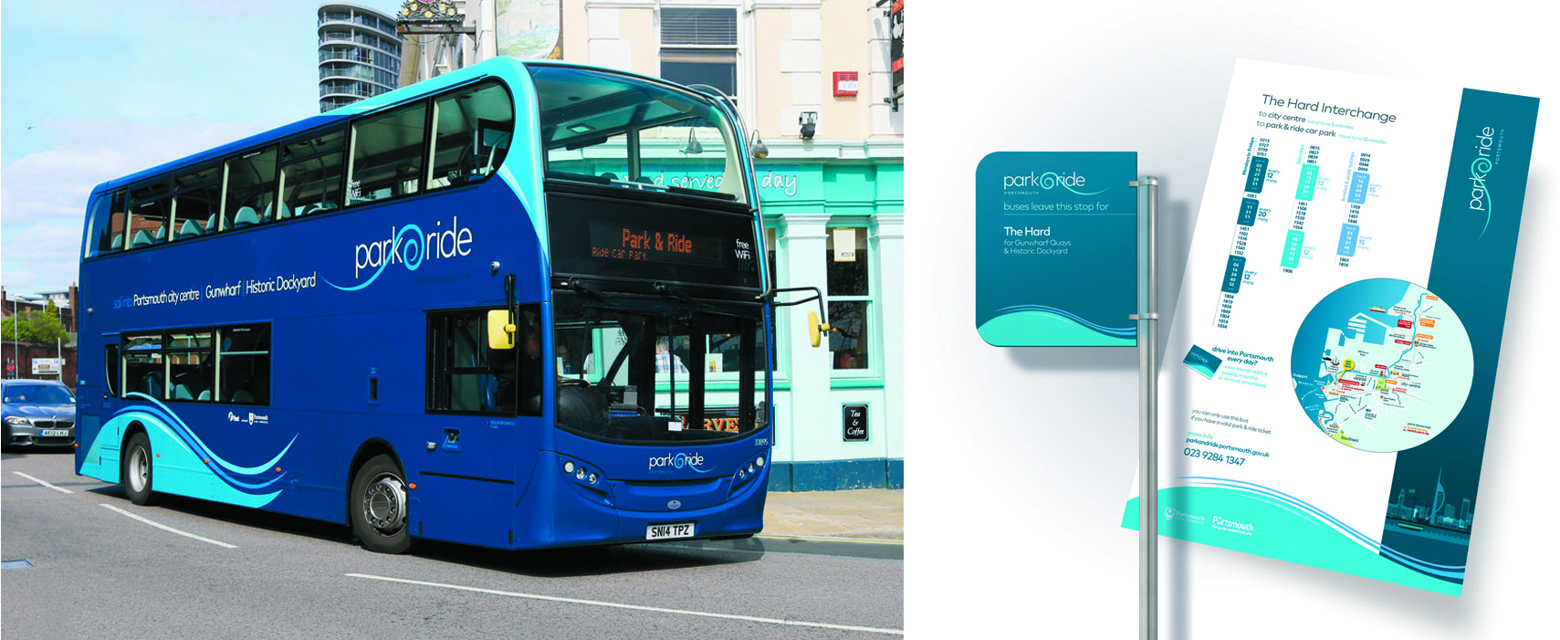 Best Impressions offers a full marketing suite. Portsmouth Park and Ride were an example of this as the vehicle makeover and (right) bus stop material show.
