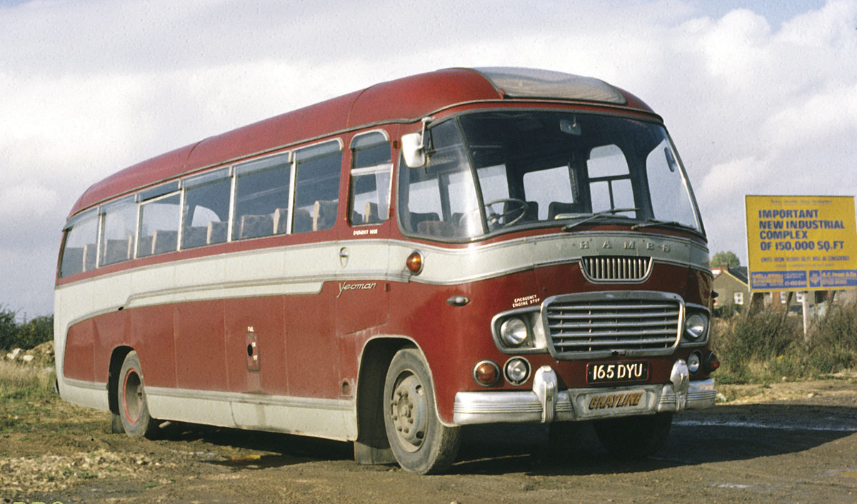 Forty years ago this Ford Thames Duple Yeoman sported the maroon and grey colours Grayline used at the time.