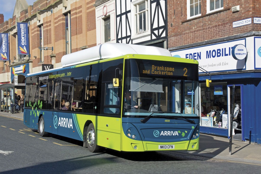 MAN supplied the first vehicles to enter service following the renewal of interest in gas buses. Arriva operate them in Runcorn and, as seen here, Darlington.