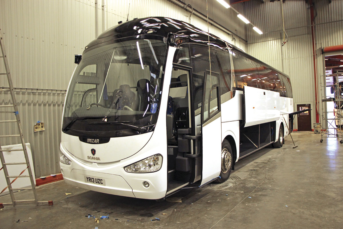 A Scania Irizar in the workshops