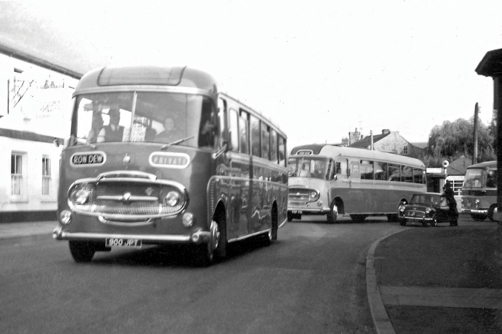 An over 60's outing sets off from Somersham in the early 1960s with a Plaxton bodied Commer Avenger in the lead.