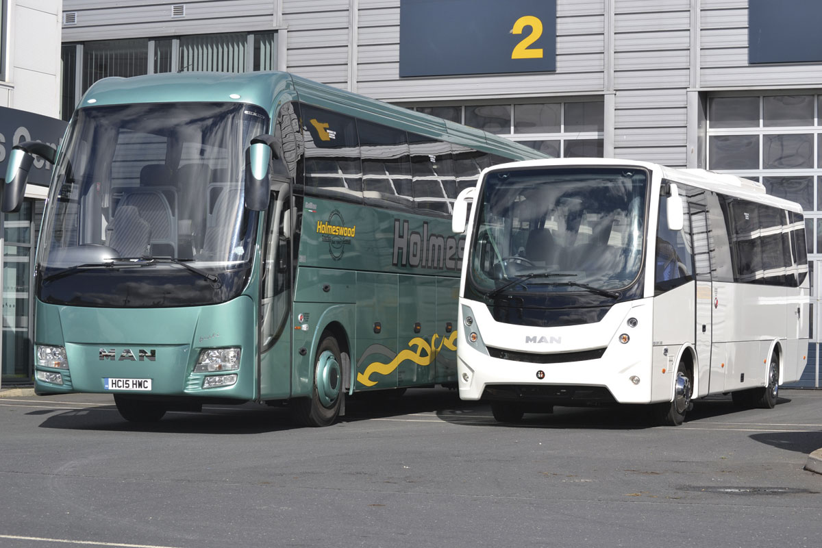 BASE Coach Sales are one of MAN's approved partners who build on both their truck and coach chassis. Left, the 13.8M Barbi Galileo HDH, Right, The Mobipeople Midi Explorer built on the TGL truck chassis