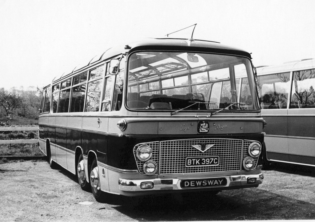 Bedford VAL's were popular members of the fleet in the 1960s and 1970s and a late Plaxton Elite bodied example is preserved. This is a Duple Vega Major seen in the original yard.