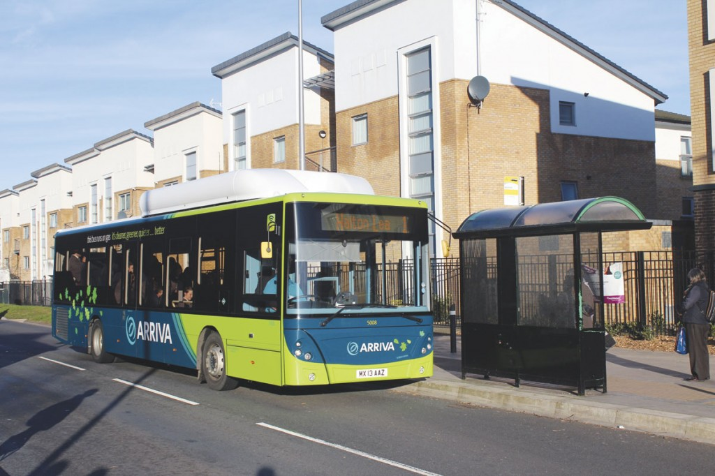 Following a renewed interest in gas vehicles, Arriva were the first to operate the MAN EcoCity gas bus. This vehicle was pictured in service on the Runcorn Circular Route 1