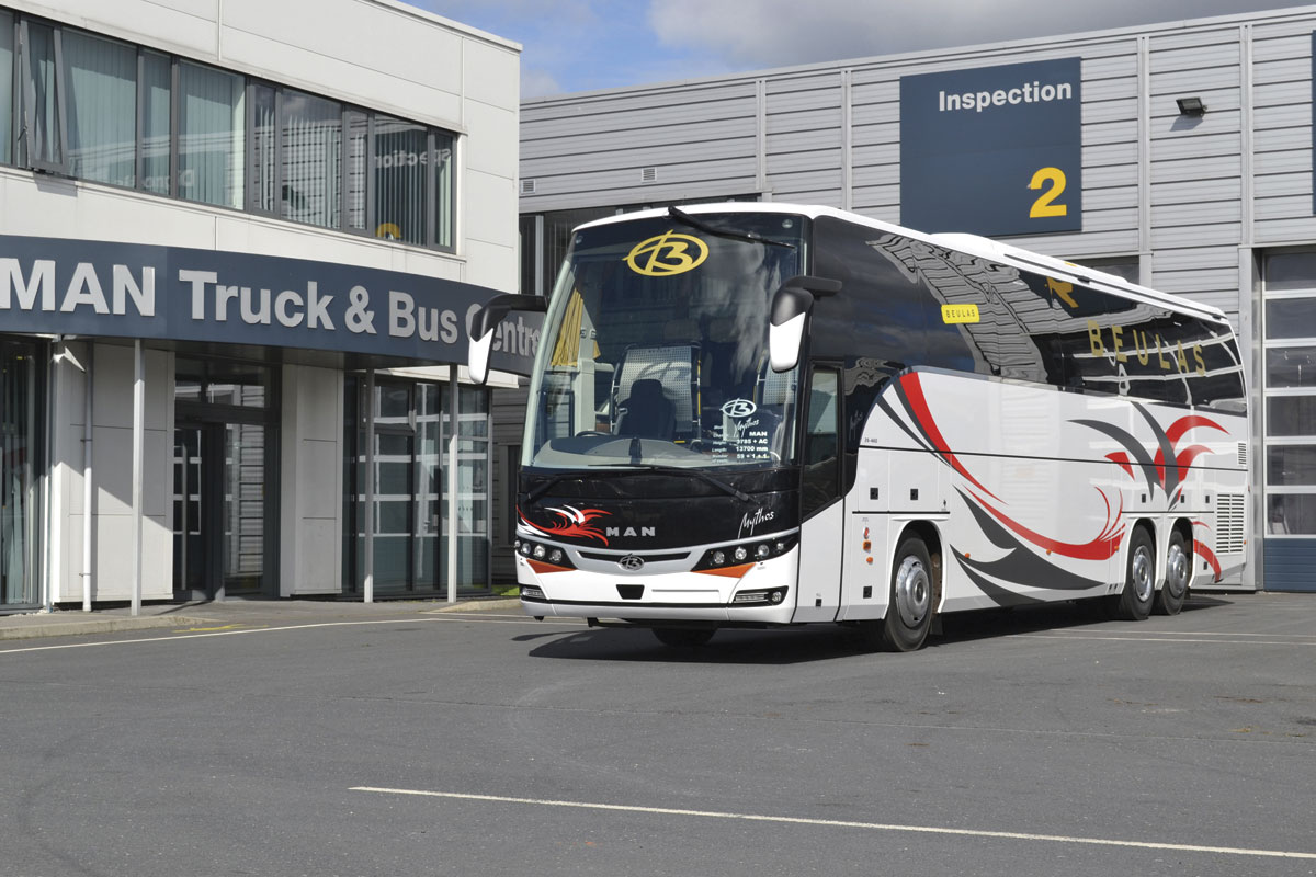 Moseley PCV Ltd, another partner using the MAN chassis, offer this luxury Beulas Mythos tri-axle 59 seat 13.7m coach