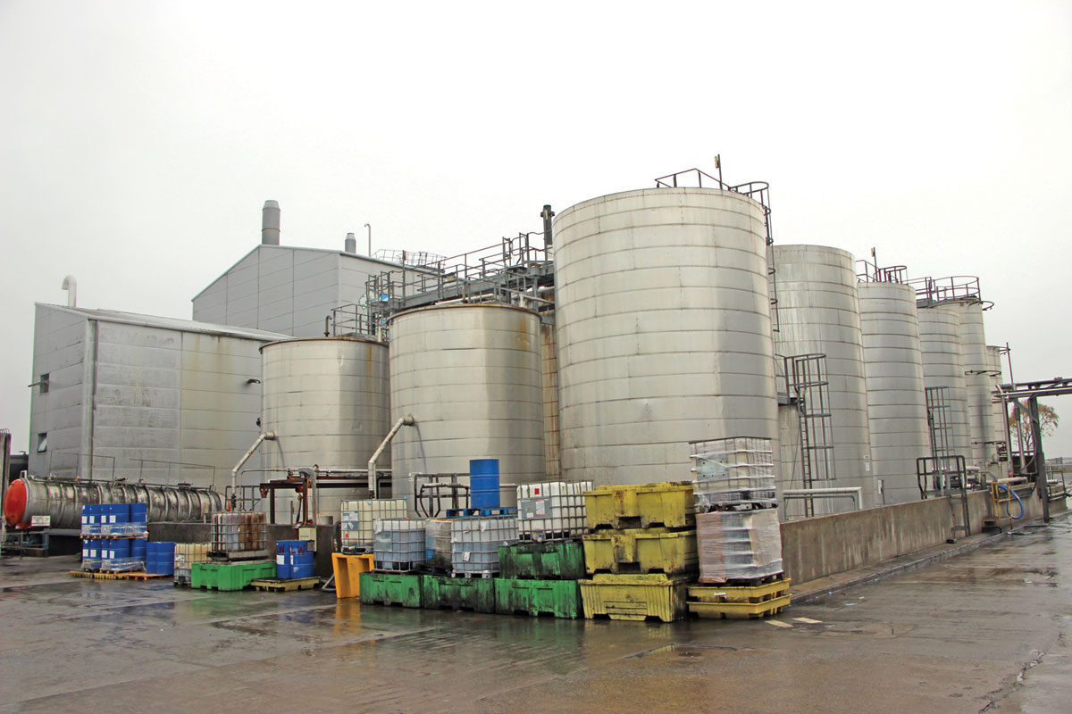 Motherwell's tank farm, where products are stored and blended.