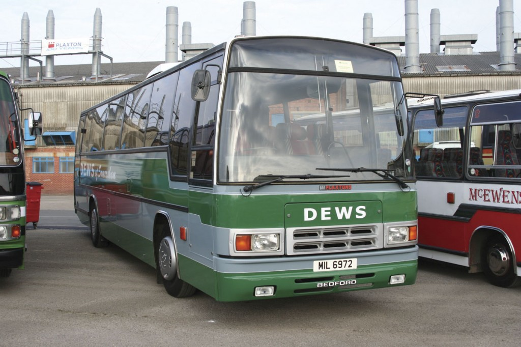 Seen participating in the Plaxton Centenary event at Scarborough in 2007 is a Bedford YNT Plaxton Paramount 3200, one of the very last, which is still in use with Dews today.