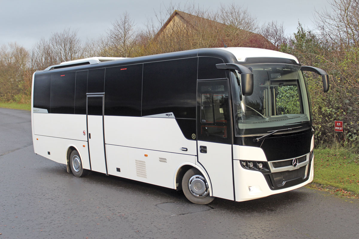 The 9.39m Indcar Next with centre continental door on a 12-tonne Mercedes-Benz Atego chassis