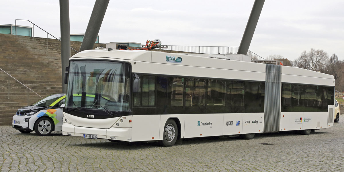 The Fraunhofer Institutes latest test vehicle, a Hess Swiss Hybrid converted for plug-in operation