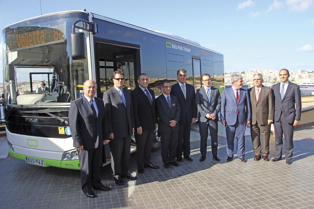 The Otokar team, Felipe Cosmen, Joe Mizzi, the Spanish and Turkish Ambassadors and other stakeholders celebrate the handover of the final vehicle in the 143 bus batch