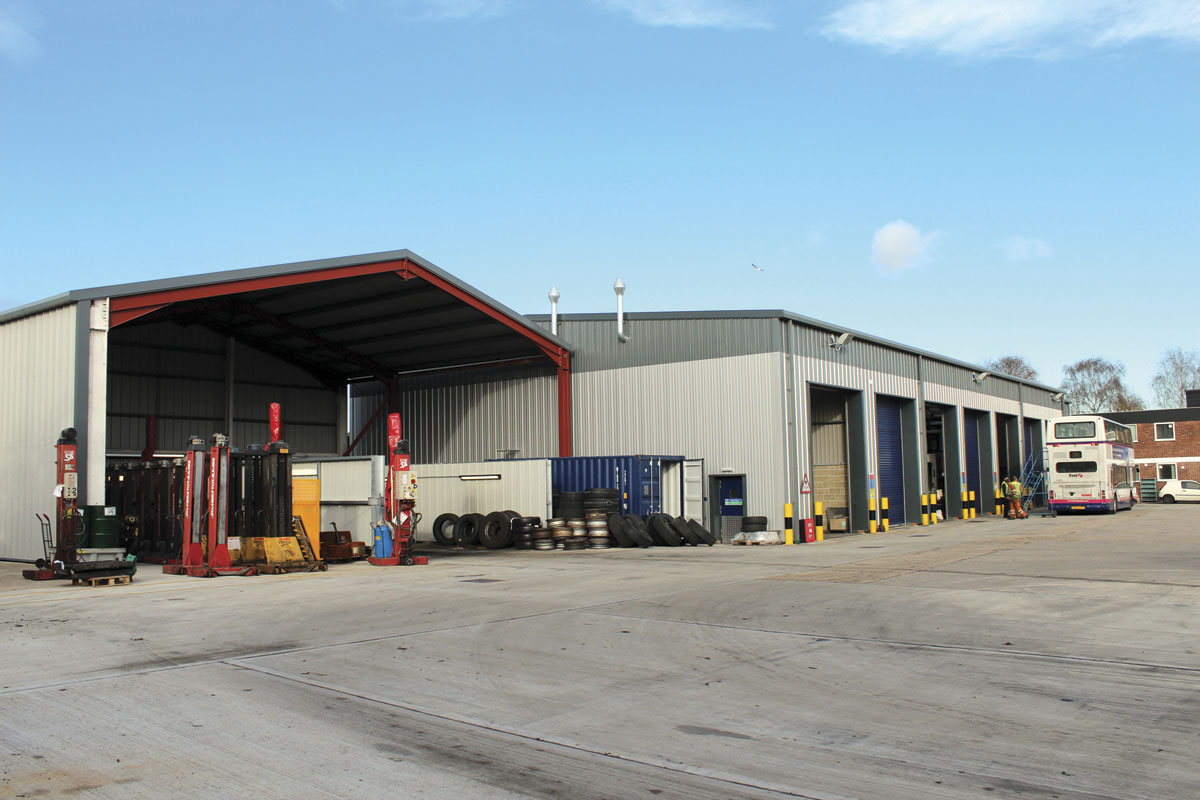The exterior of the new workshops with the cleaning bays nearest the camera.