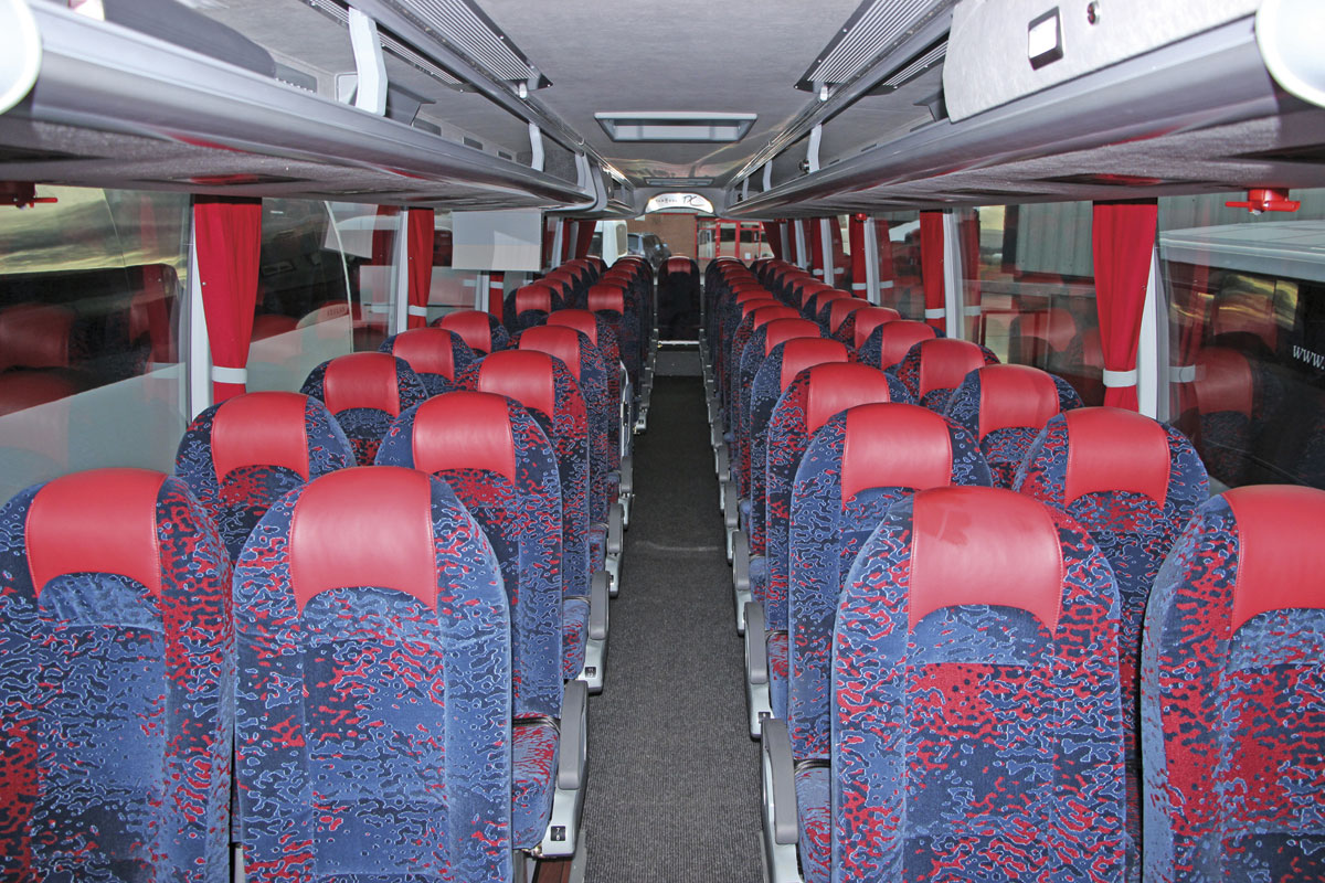 The interior of a 51 seat Scania K410EB4x2NI Van Hool TX15