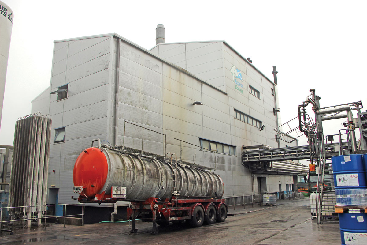 The transesterification and distilling of the product takes place within this building.
