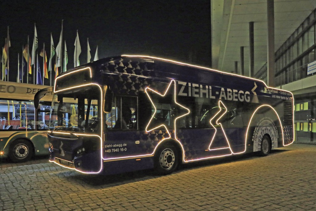 Ziehl-Abegg's VDL Citea demonstrator received a 130m LED light chain to support Christmas festivities in its home town
