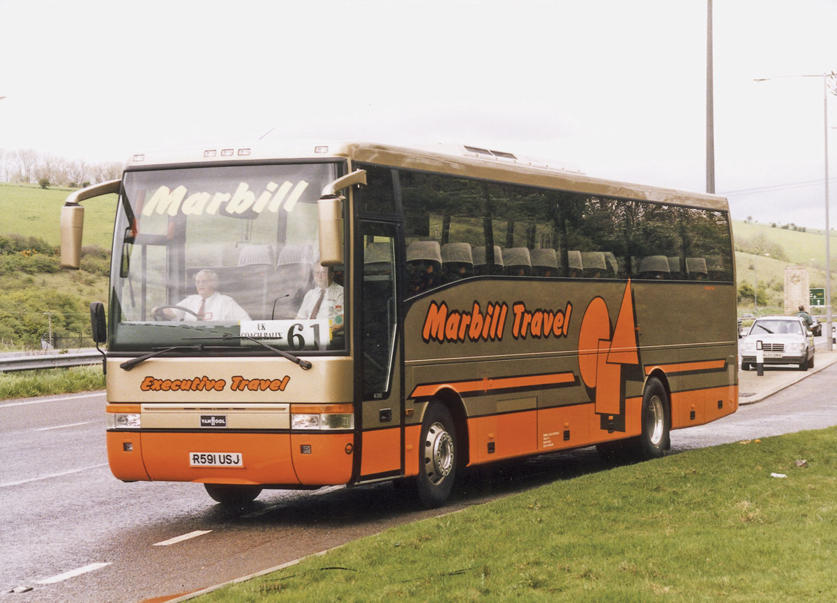 A Volvo B10M Van Hool Alizee T9 on a UK Coach Rally road run