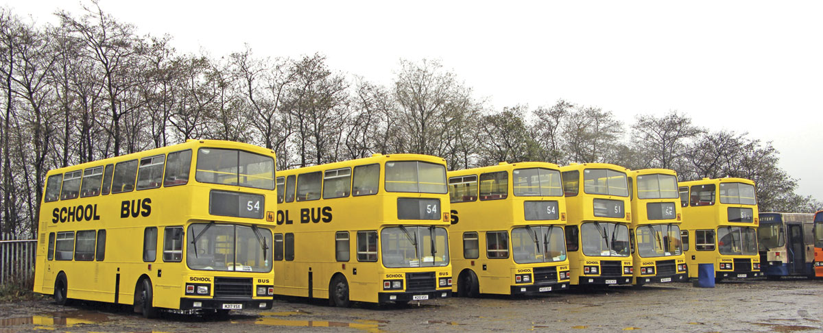Eight of these yellow painted Alexander bodied Volvo Olympians are operated, all purchased from Lothian Buses. Most seat 81 but one seats 87