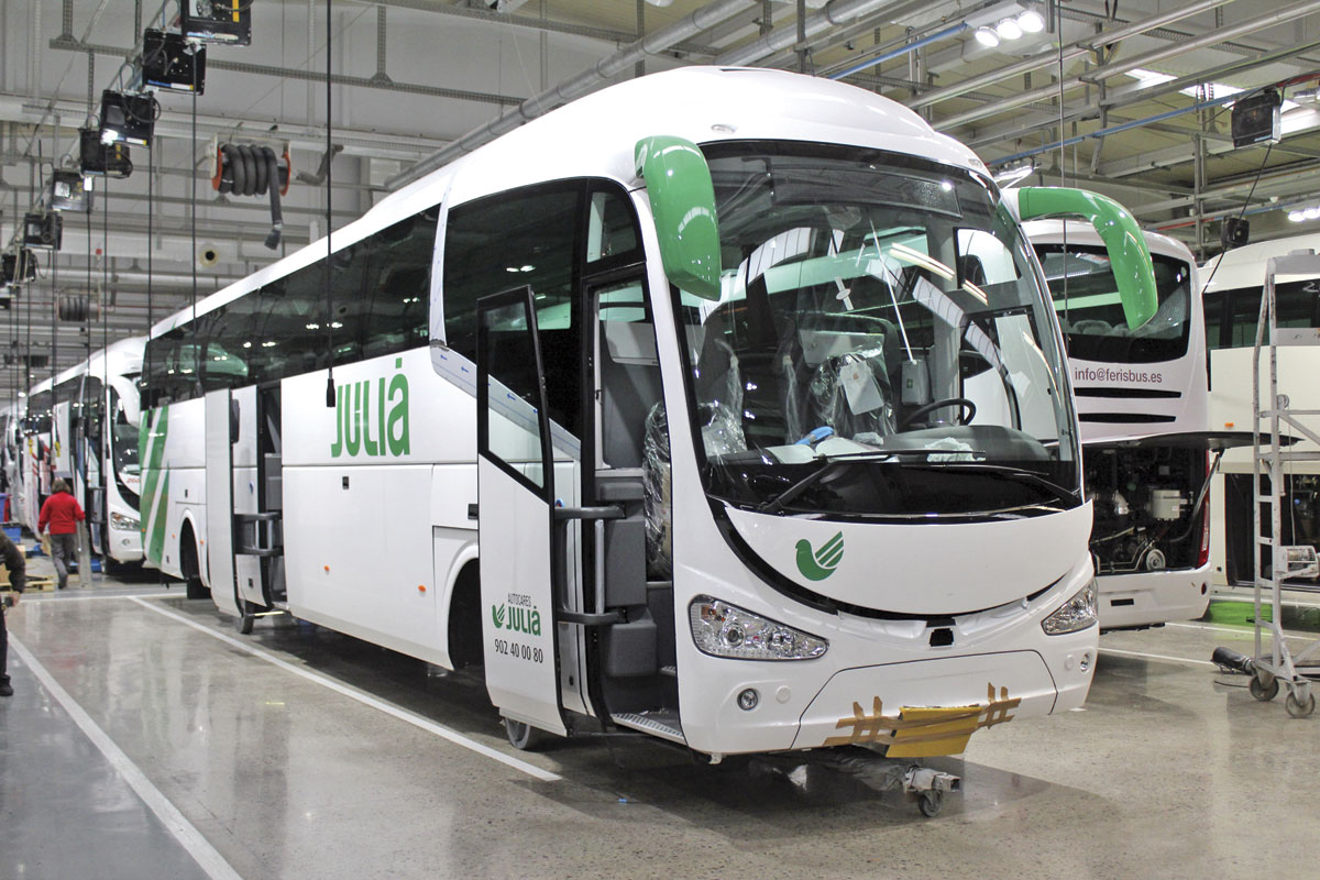 Integral models, such as this i6 for a Spanish customer, are discernable from their chassis mounted counterparts because they travel through the plant on wheeled trolleys