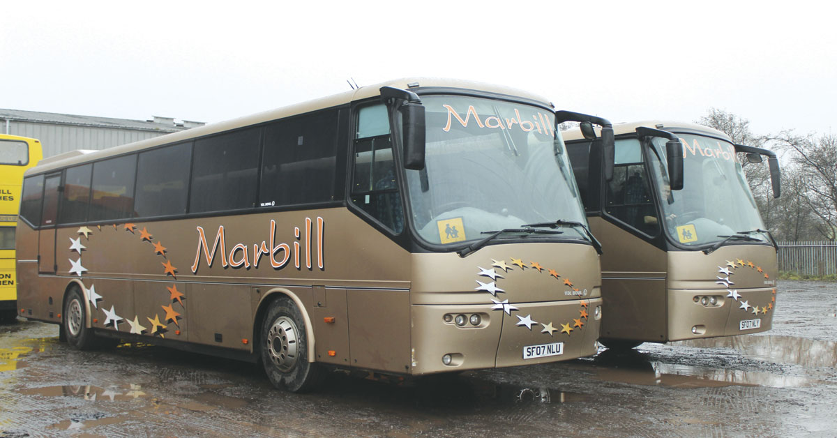 Marbill has invested heavily in high capacity coaches. Three of five low height Futura Classic FLDs seating 70 remain in service as well as one upseated older example