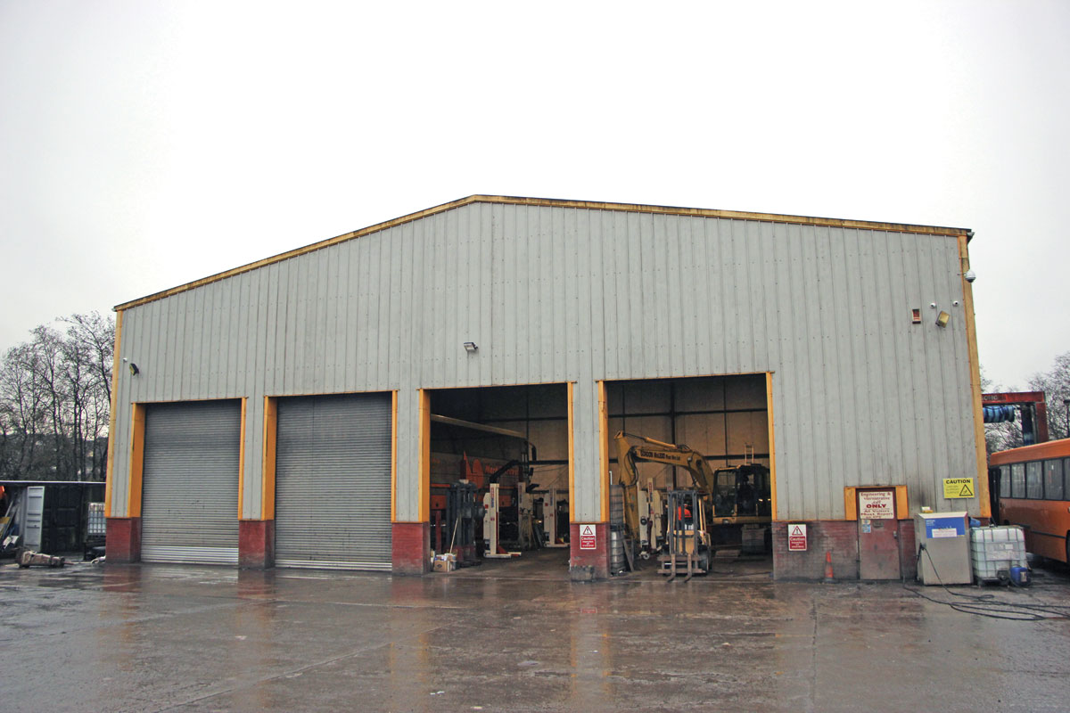 The five bay workshop used to maintain both the bus and plant fleets