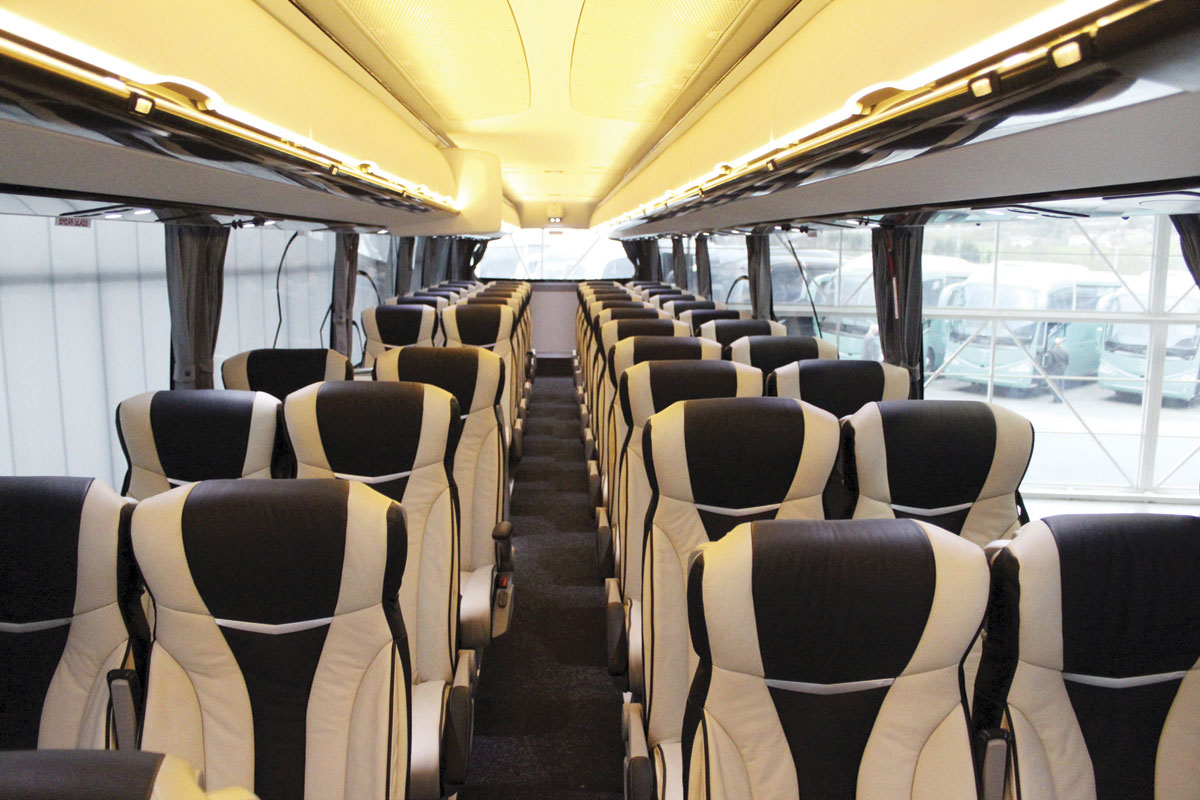 The interior of an RHD i8 from the front of the saloon. The rear two seat rows were not fitted in this coach