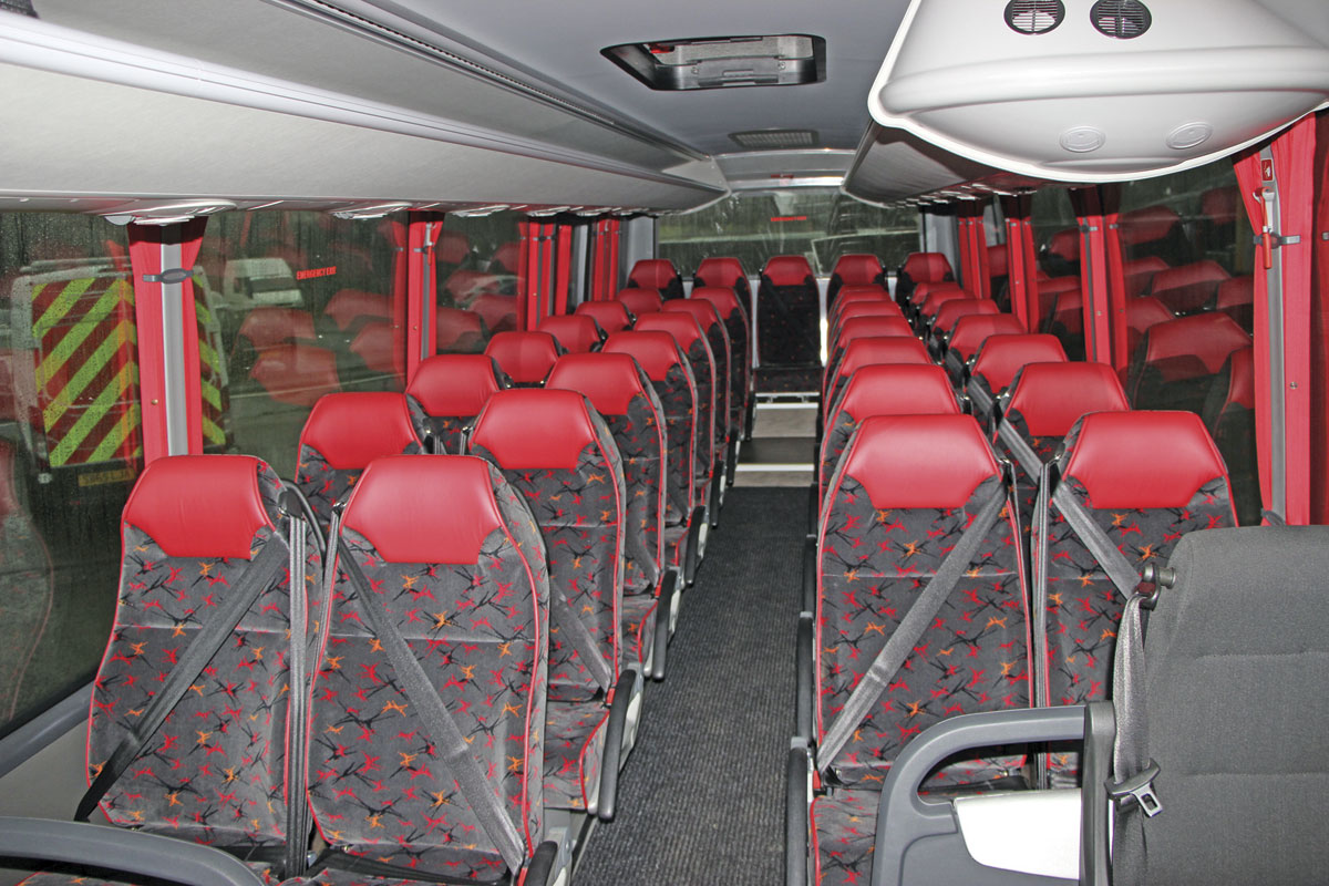 The interior of the new 33-seat Indcar Next Mercedes-Benz Atego