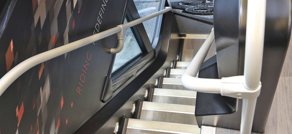 The staircase has a screen at the base which shows which seats are free