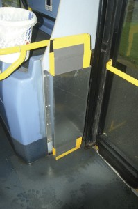 The storage compartment for the ramp on one of BorderBus's Volvo Plaxton Presidents.