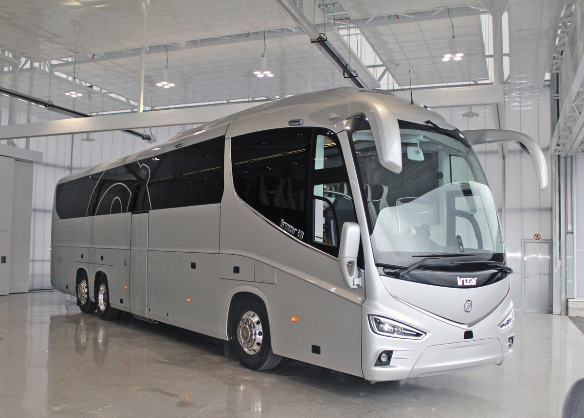 This nearside view in the Irizar showroom illustrates how the i8 body design has retained the main styling cues seen in the PB and i6