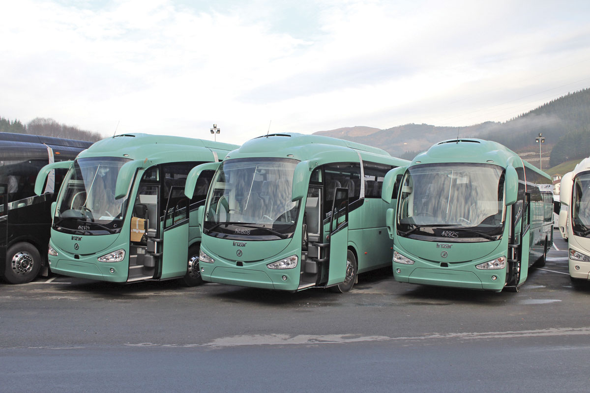 Three i6 coaches for Clarkes of London from a batch in the course of delivery
