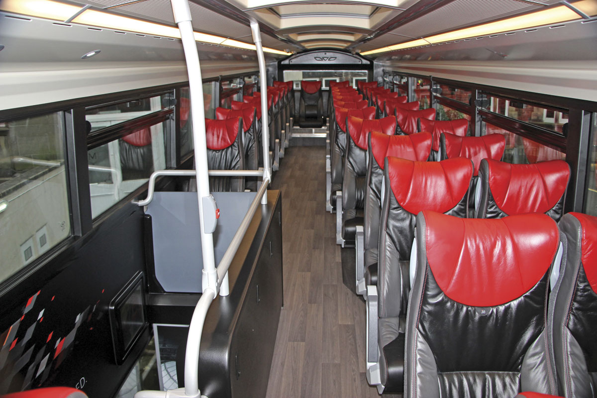 Two + one leather trimmed coach seats on the upper deck